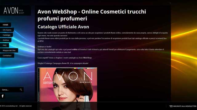 Avon web shop home page