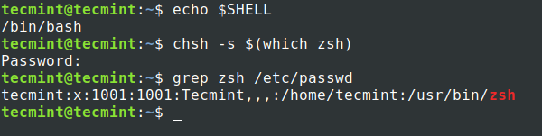 Imposta Zsh Shell in Ubuntu